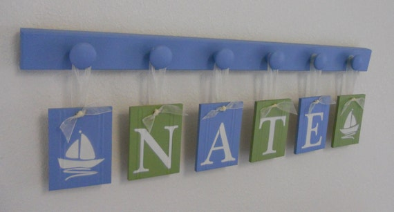 Sailboat Art Nursery Decor includes Baby Name Hanging Wall Letters Sail Boats and 6 Wooden Peg Hanger - Light Blue and Green - NATE