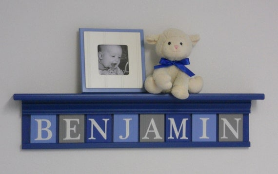 "Blue and Gray Personalized Children Nursery Wall Decor 30"" Blue Shelf with 8 Wood Letter Plaques - BENJAMIN"