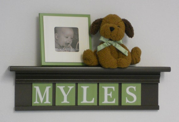 """Green and Brown Personalized Baby Boy Nursery Decor 24"""" Brown Shelf With 5 Wooden Wall Letters - MYLES"""