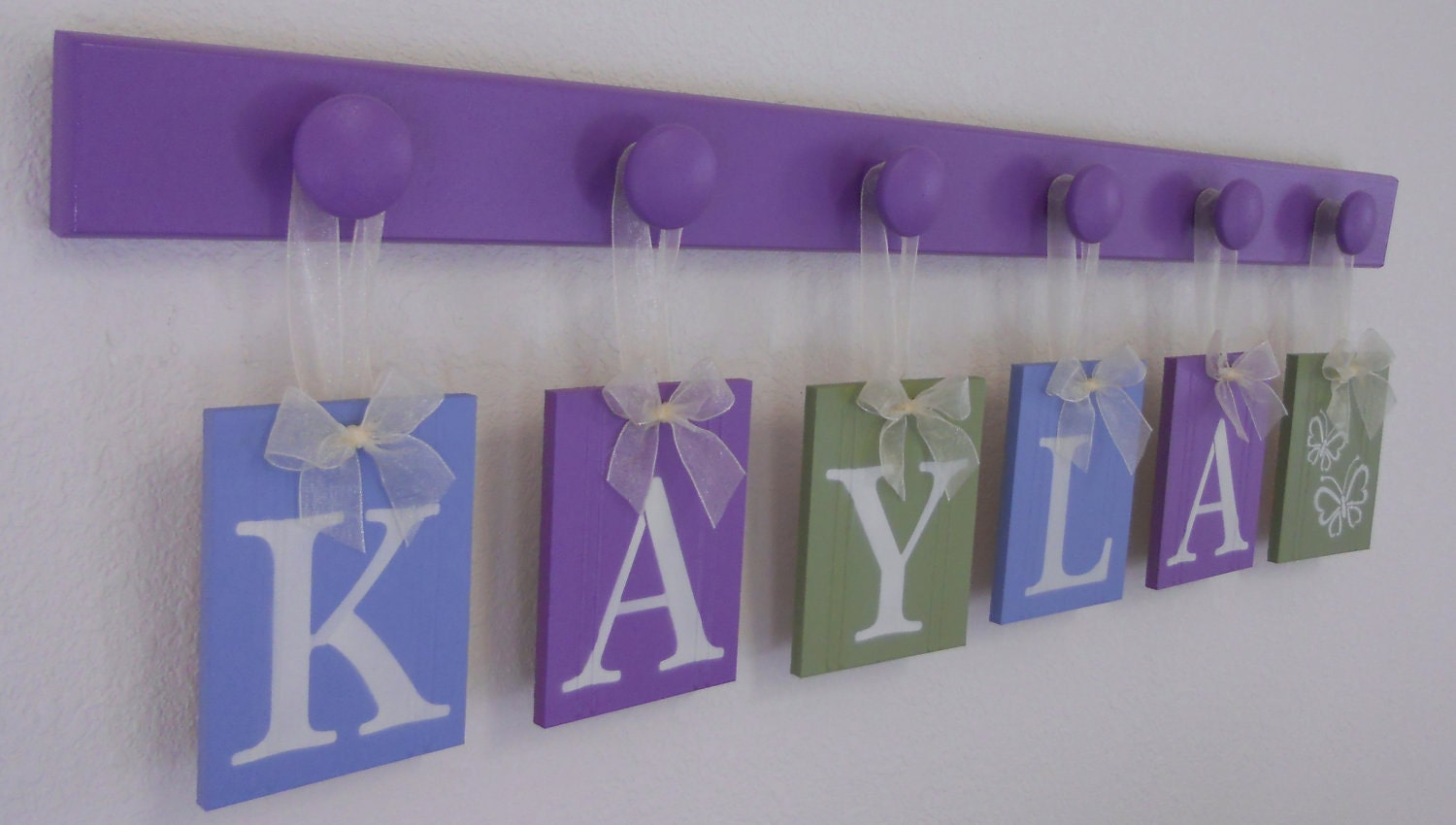 Butterfly baby nursery wall letters signs set includes 6 for Baby nursery letters