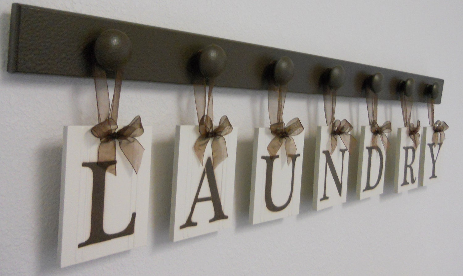 Laundry Room Decor Personalized Hanging Wall Letters includes Wooden Peg  Hangers and Letters LAUNDRY in Chocolate Brown or Black