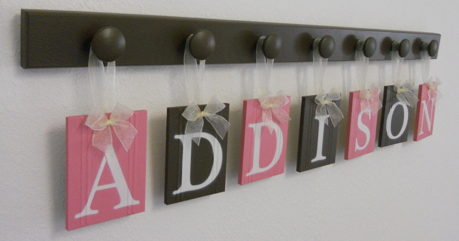 custom baby name wall hanging sign set includes letters and. Black Bedroom Furniture Sets. Home Design Ideas
