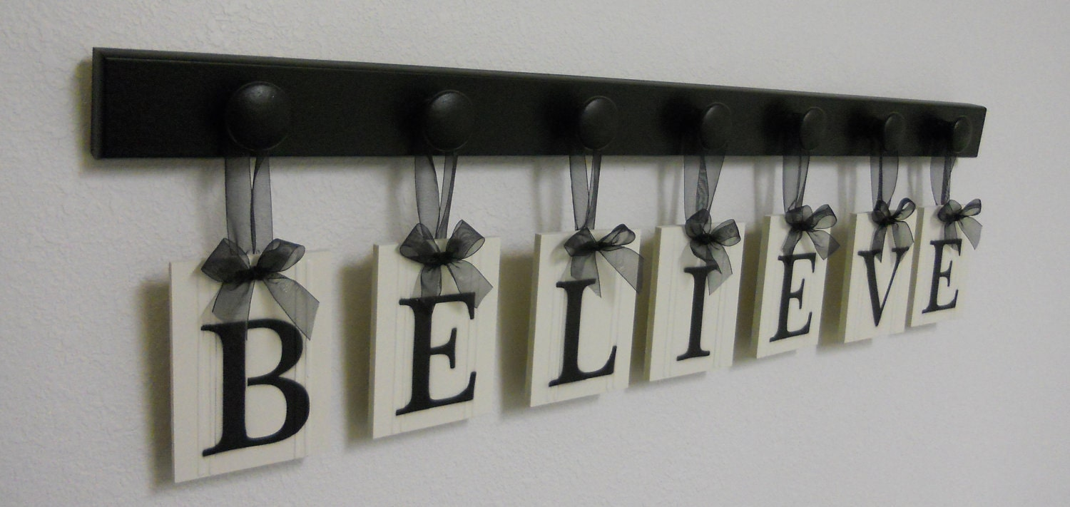 believe sign wall art decor seven hanging wood letter