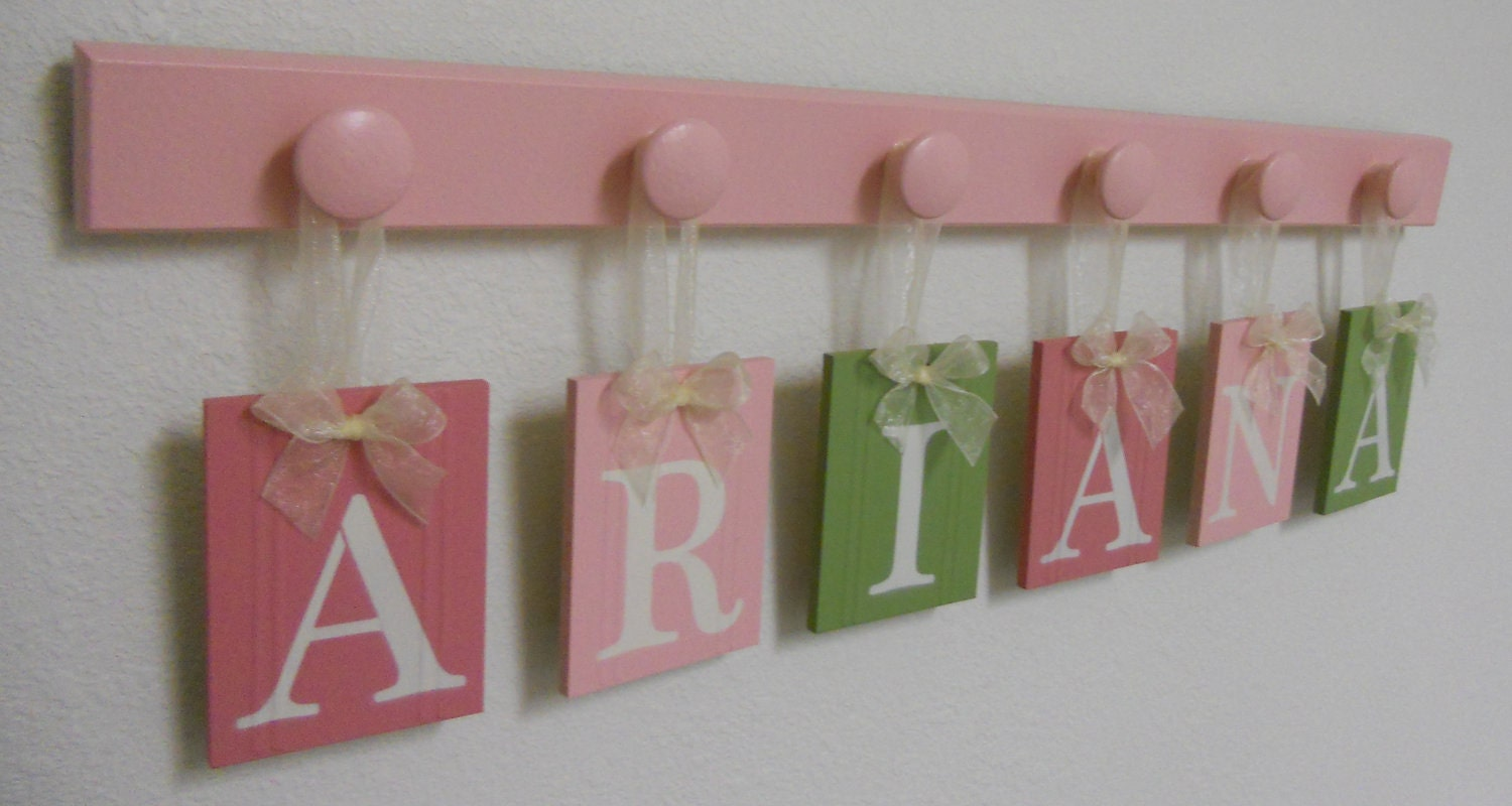 Wooden Letters Nursery Children Names 6 Hooks In Pinks And