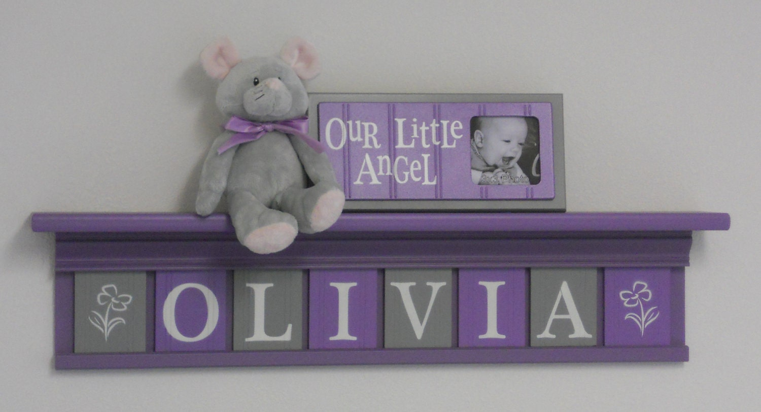 Purple nursery name letters baby girl nursery name decor for Baby name nursery decoration