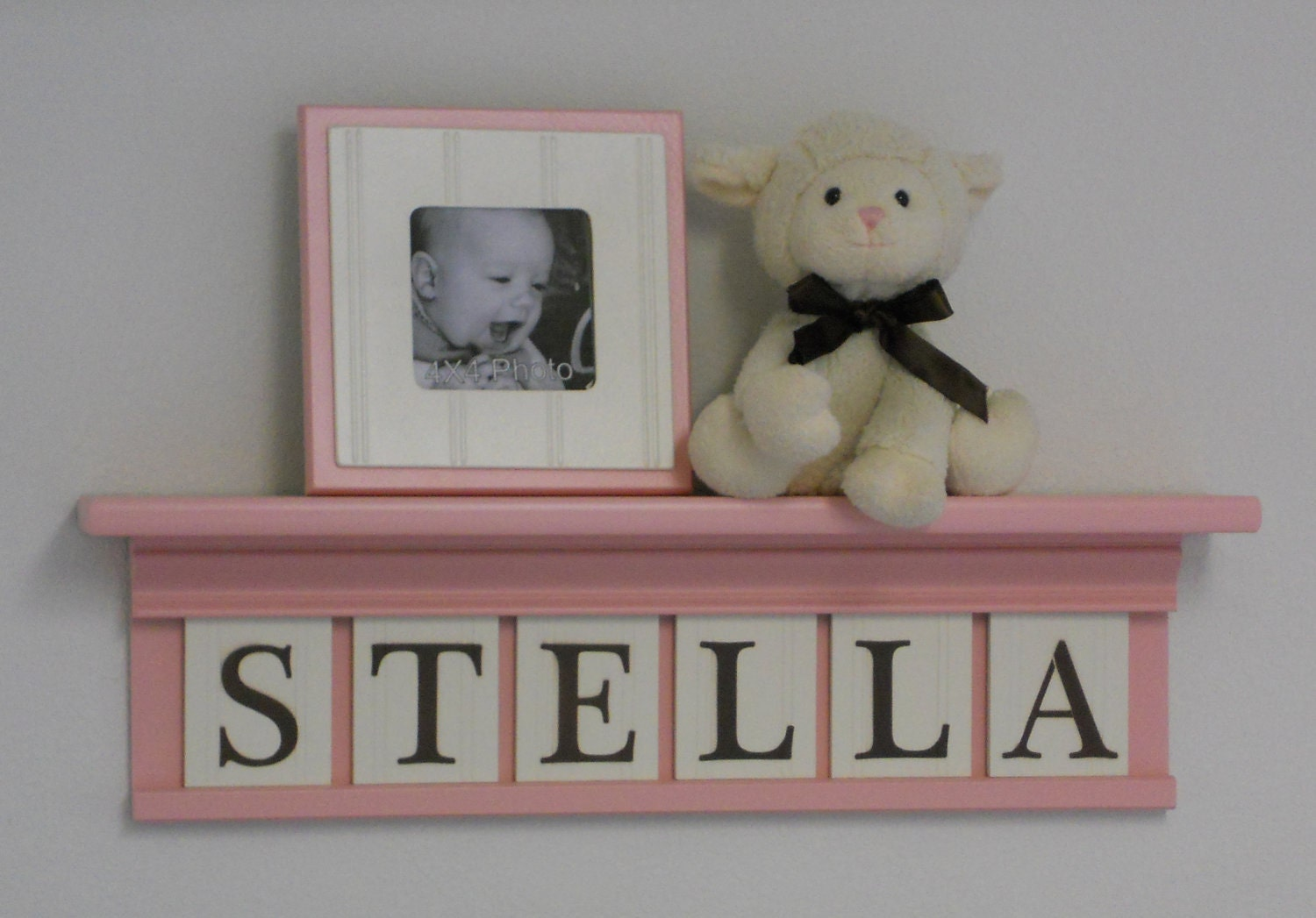 pink nursery decor 24 shelf with 6 wooden wall letters. Black Bedroom Furniture Sets. Home Design Ideas