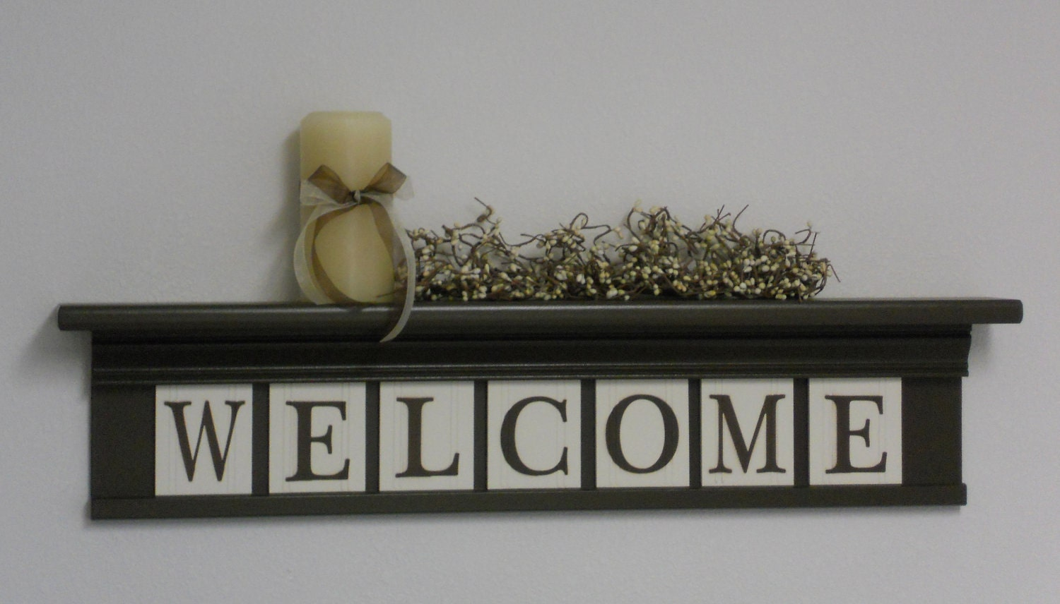 Welcome Wall Decor welcome entryway shelf wall decor sign chocolate brown