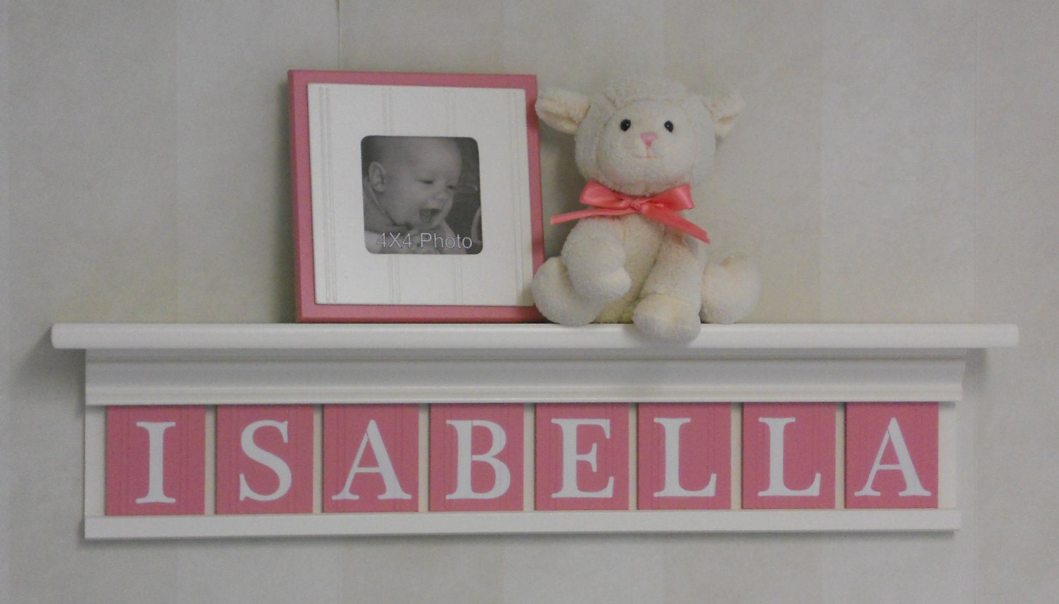 Baby girl wooden name signs nursery decor 30 shelf white for Baby name decoration