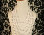48 Inch Faux Pearl Necklace white