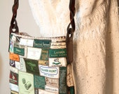 One of a kind tag bag in greens and browns