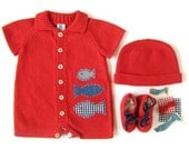 Knitted short jumpsuit in red with fishes. 100% cotton. READY TO SHIP in size Newborn.