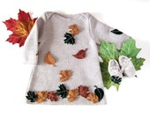 A knitted baby dress with felt  leaves. 100% wool. READY TO SHIP 3-6 months. Item Unique