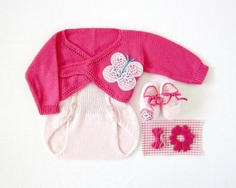 Knitted cache-coeur with diaper cover - in pink with butterflies and flowers. 100% cotton. Newborn.