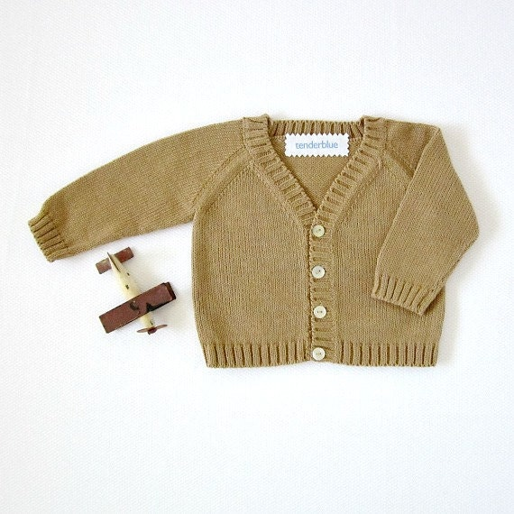 Knitted classic coat in camel - newborn