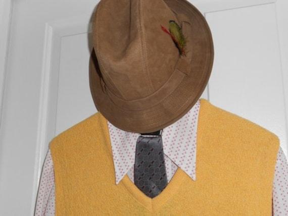 Vintage Mens Sweater Vest Yellow