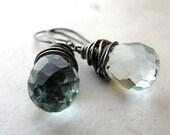 Aqua Quartz Earrings Wire Wrapped Gunmetal Oxidized BellinaCreations Bellina Creation