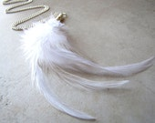 White Feather Necklace Angel Necklace Swarovski Wire Wrapped