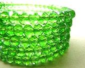 Green Bracelet, Green Crystal, St. Patrick, Irish, Crystal Bracelet, Memory Wire Bracelet