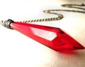 Blood Red Vampire Goth Gothic Chandalier Crystal Vintage Antique Prism Pendant Gun Metal Hematite Halloween Necklace