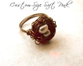 Birds Nest Ring Hummingbird Ring Pink Pearl -Made to Order Custom Size BellinaCreations