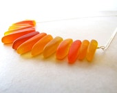 Sea Glass Seaglass Necklace Red Orange Yellow Girl on Fire Wire Wrapped Tusk Necklace BellinaCreations Bellina Creation
