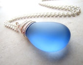 Sea Glass Seaglass Necklace Blue Cobalt Wire Wrapped Necklace BellinaCreations Bellina Creation