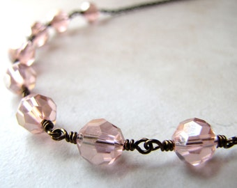 Pink Crystal Necklace, Victorian Necklace, Bridal Necklace, Bohemian Necklace, Wire Wrapped Crystal, Pink Necklace