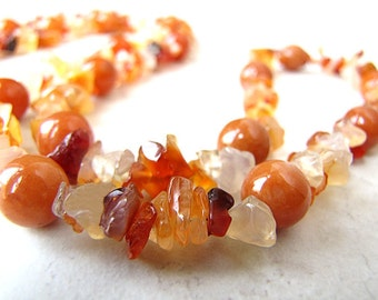 Gemstone Necklace, Red Aventurine, Red Agate Necklace, Beaded Necklace