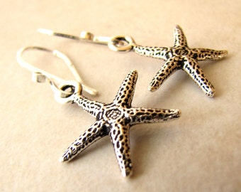 Starfish Earrings Oxidized Sterling Silver and Pewter Charm Earrings BellinaCreations Bellina Creation