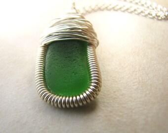 Green Seaglass, Sea Glass Necklace, Seaglass Necklace, Genuine Seaglass, Beach Jewelry, Saint Patricks Day,Beer, Irish