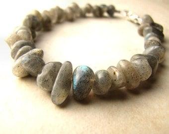 Labradorite Bracelet, Gemstone Bracelet, Crystal Bracelet, Flash Labradorite, Gray Stone