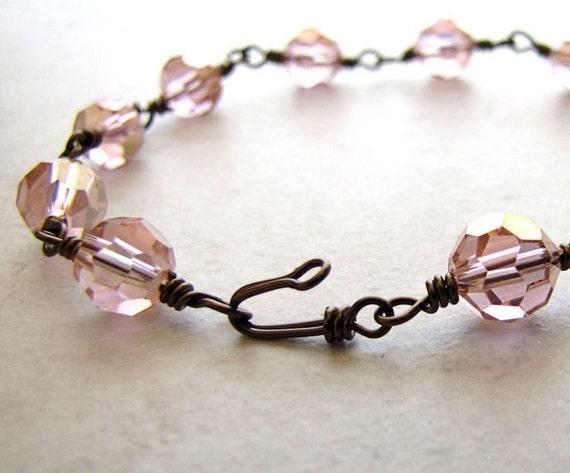 Pink Crystal Bracelet Wire Wrapped Bronze and Rose Pink Bridal Faceted Bracelet BellinaCreations Bellina Creation