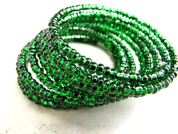 Green Czech Glass Bracelet Beaded Memory Wire BellinaCreations Bellina Creation
