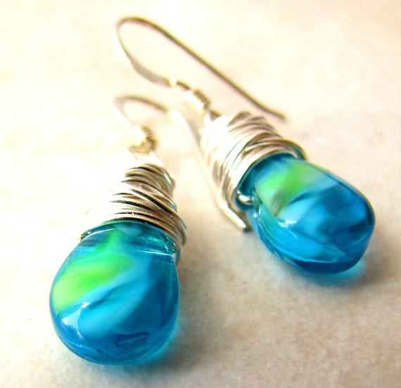 Blue Green Earrings Lampwork  Tie Dye Earrings Blue Green Aqua Turquoise Lampwork Glass Tie Dye Wire Wrapped Earrings BellinaCreations