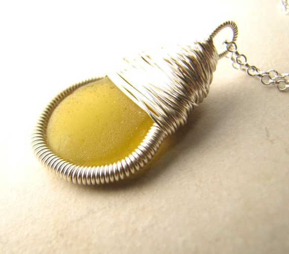 Sea Glass Seaglass Necklace Genuine Sea Glass Wire Wrapped Rare Yellow Sterling Necklace BellinaCreations Bellina Creation