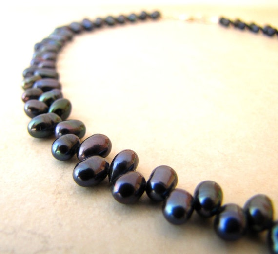 Black Pearl Necklace Freshwater Pearl Necklace Peacock Colored