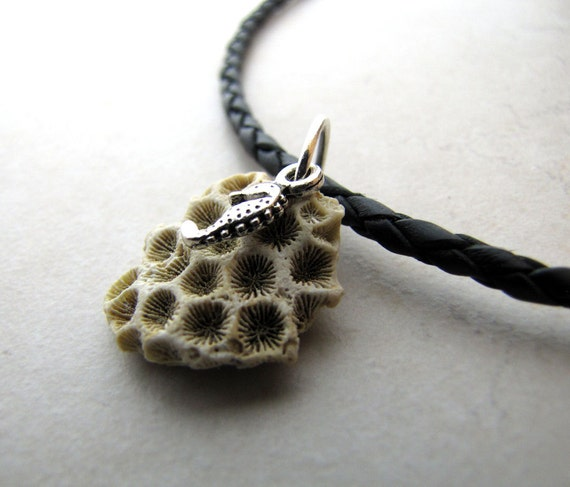 Mens Necklace Seahorse Coral Necklace Unisex Braided Leather Necklace BellinaCreations Bellina Creation