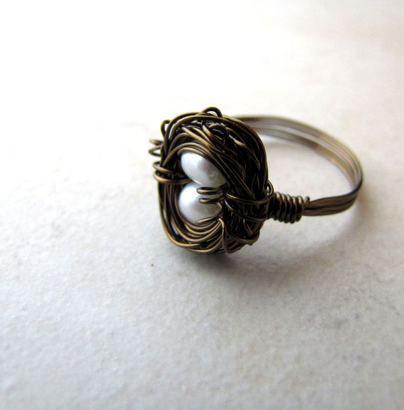 Birds Nest Ring Pearl Eggs Hummingbird Nest Bronze Wire Wrapped Size 7
