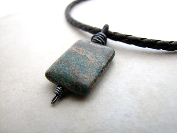 Mens Necklace Serpentine Unisex Green Turquoise Braided Leather Necklace New Jade