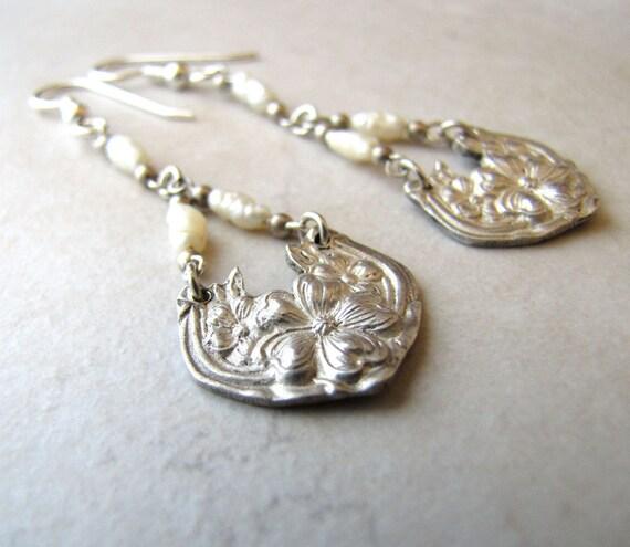 Antique Bridal Earrings Silver Spoon Keishi Pearl Victorian Flower BellinaCreations Bellina Creation