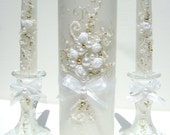 Wedding unity candle set, hand decorated with an original design in white and gold. It's a great bridal shower gift idea