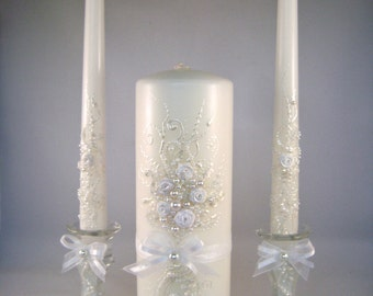 GORGEOUS Wedding unity candle set in pearl ivory and white, beautiful unity ceremony set, wedding reception