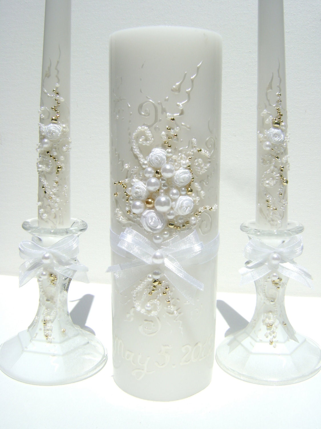 Wedding Unity Candle Set Hand Decorated With An Original