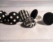 Earrings gingham black and white