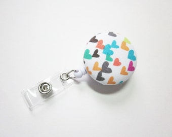 Badge Reel Covered Button in Hearts