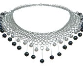 Isabelle Necklace, Sterling Silver Chain Maille Black and White Pearls