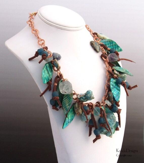 Sale - Forest Glen Necklace, Copper Chain, Shells, Leather, Variscite, Fluorite, Glass, Aquamarine