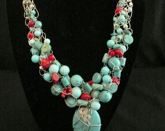 Turquoise Treasure Wire Crochet Necklace