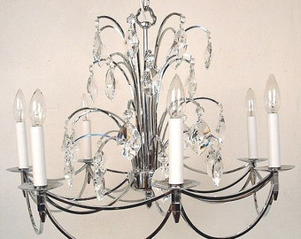 Mid Century Chandelier Chrome and crystal, Reduced price