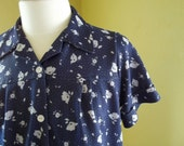 SALE - Fixer Upper - Blue Blouse with White Flowers Size Large